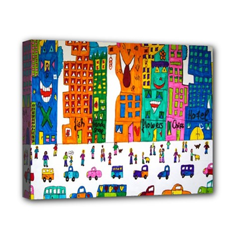 Painted Autos City Skyscrapers Canvas 10  x 8