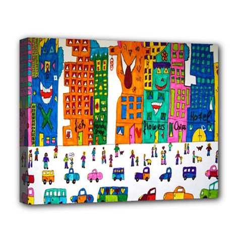 Painted Autos City Skyscrapers Deluxe Canvas 20  x 16