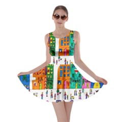 Painted Autos City Skyscrapers Skater Dress