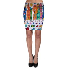 Painted Autos City Skyscrapers Bodycon Skirt