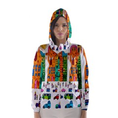 Painted Autos City Skyscrapers Hooded Wind Breaker (Women)