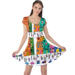 Painted Autos City Skyscrapers Cap Sleeve Dresses