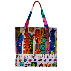 Painted Autos City Skyscrapers Zipper Grocery Tote Bag