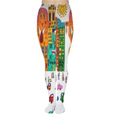 Painted Autos City Skyscrapers Women s Tights