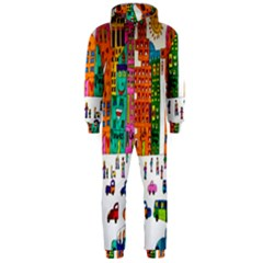 Painted Autos City Skyscrapers Hooded Jumpsuit (Men)