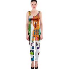 Painted Autos City Skyscrapers OnePiece Catsuit
