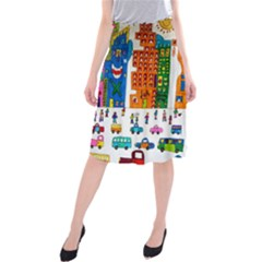 Painted Autos City Skyscrapers Midi Beach Skirt
