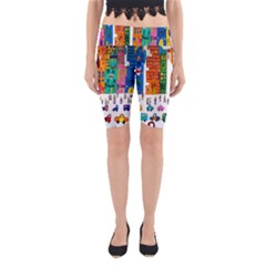 Painted Autos City Skyscrapers Yoga Cropped Leggings