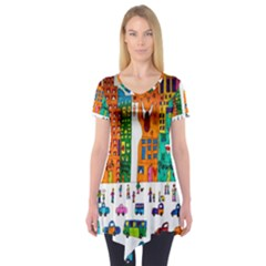 Painted Autos City Skyscrapers Short Sleeve Tunic