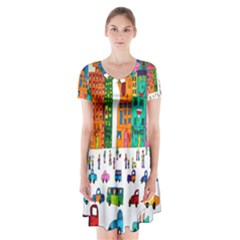 Painted Autos City Skyscrapers Short Sleeve V Neck Flare Dress