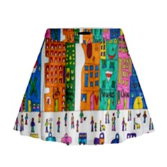Painted Autos City Skyscrapers Mini Flare Skirt