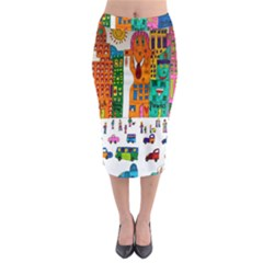 Painted Autos City Skyscrapers Midi Pencil Skirt