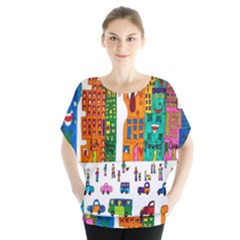Painted Autos City Skyscrapers Blouse