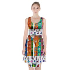 Painted Autos City Skyscrapers Racerback Midi Dress