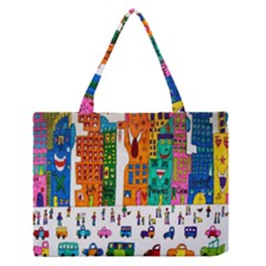 Painted Autos City Skyscrapers Medium Zipper Tote Bag