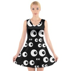 Seamless Eyes Tile Pattern V Neck Sleeveless Skater Dress