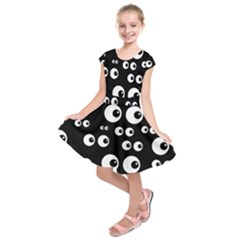 Seamless Eyes Tile Pattern Kids  Short Sleeve Dress