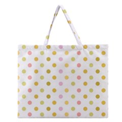 Polka Dots Retro Zipper Large Tote Bag