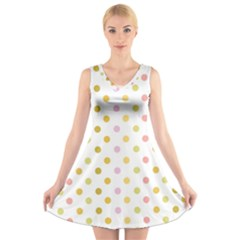 Polka Dots Retro V Neck Sleeveless Skater Dress