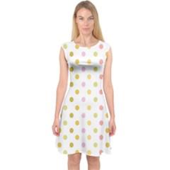 Polka Dots Retro Capsleeve Midi Dress