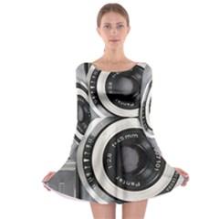 Vintage Camera Long Sleeve Skater Dress