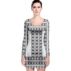 Pattern Background Texture Black Long Sleeve Bodycon Dress