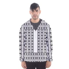 Pattern Background Texture Black Hooded Wind Breaker (men)