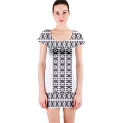 Pattern Background Texture Black Short Sleeve Bodycon Dress