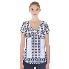 Pattern Background Texture Black Short Sleeve Front Detail Top