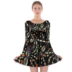 Spiders Background Long Sleeve Skater Dress