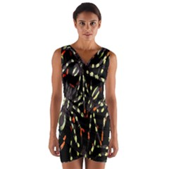 Spiders Background Wrap Front Bodycon Dress
