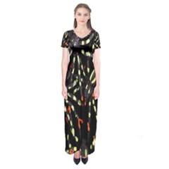 Spiders Background Short Sleeve Maxi Dress