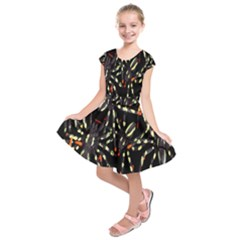 Spiders Background Kids  Short Sleeve Dress