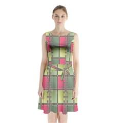 Seamless Pattern Seamless Design Sleeveless Chiffon Waist Tie Dress
