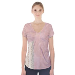 Guestbook Background Victorian Short Sleeve Front Detail Top