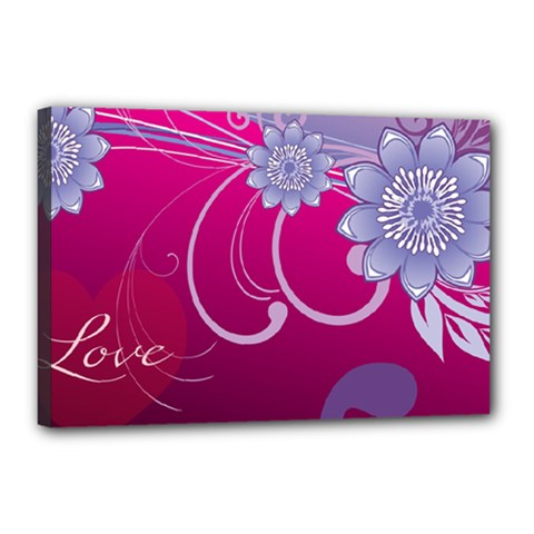 Love Flowers Canvas 18  x 12