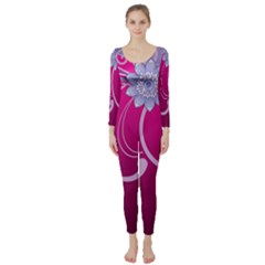 Love Flowers Long Sleeve Catsuit