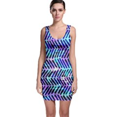 Blue Tribal Chevrons  Sleeveless Bodycon Dress