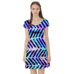 Blue Tribal Chevrons  Short Sleeve Skater Dress
