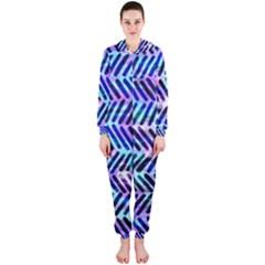 Blue Tribal Chevrons  Hooded Jumpsuit (Ladies)