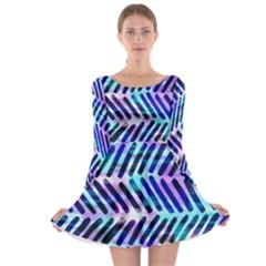 Blue Tribal Chevrons  Long Sleeve Skater Dress