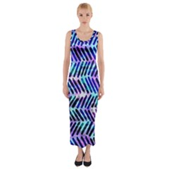 Blue Tribal Chevrons  Fitted Maxi Dress