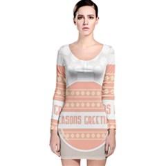 Merry Christmas Long Sleeve Velvet Bodycon Dress
