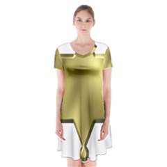 Sheriff Badge Clip Art Short Sleeve V-neck Flare Dress