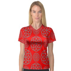 Geometric Circles Seamless Pattern Women s V-Neck Sport Mesh Tee