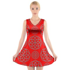 Geometric Circles Seamless Pattern V Neck Sleeveless Skater Dress