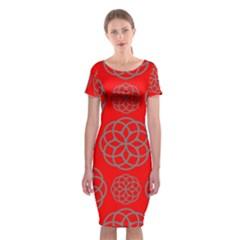 Geometric Circles Seamless Pattern Classic Short Sleeve Midi Dress