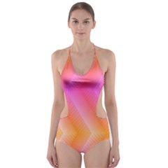 Pattern Background Pink Orange Cut-Out One Piece Swimsuit