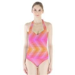 Pattern Background Pink Orange Halter Swimsuit