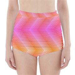 Pattern Background Pink Orange High-Waisted Bikini Bottoms